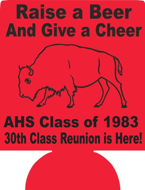 30th class reunion School koozie party favors can coolers
