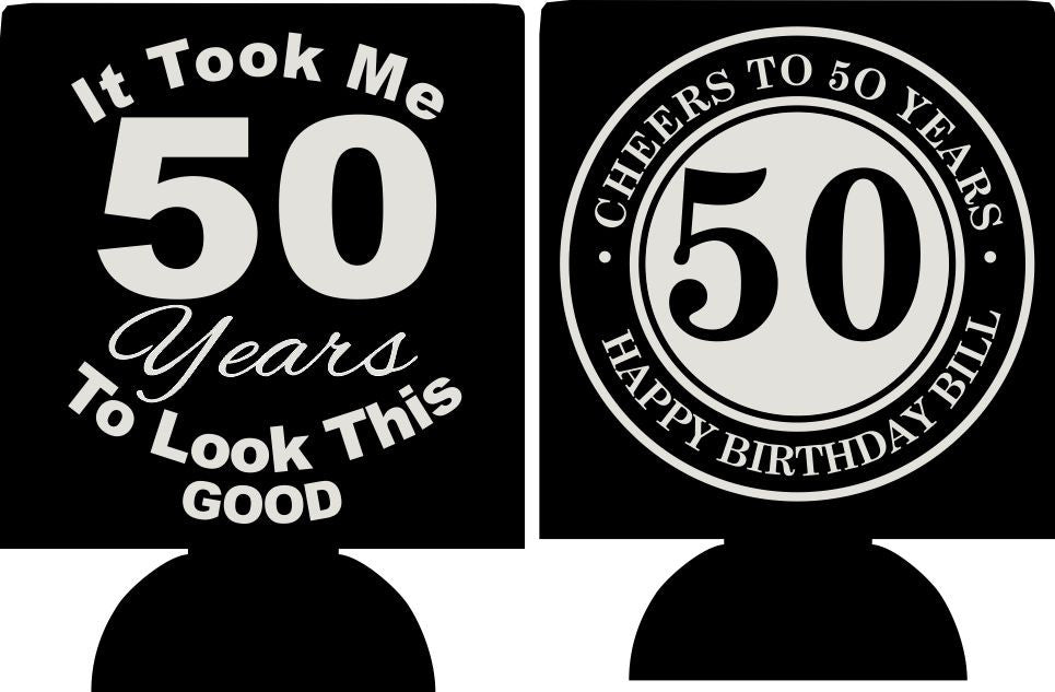 50th birthday party favor 50 and fabulous can coolers no minimums quick ship