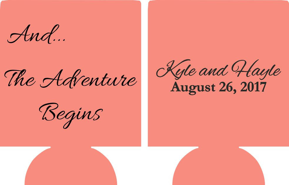 And The Adventure Begins Wedding beer Koozie Can Coolers E07022017