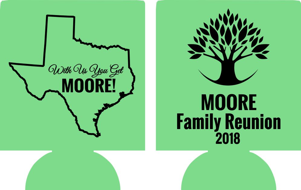 Texas Family reunion koozie party favors tree state can coolers