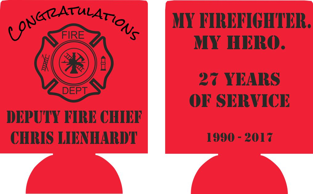 Firefighter retirement Koozies personalized can coolers