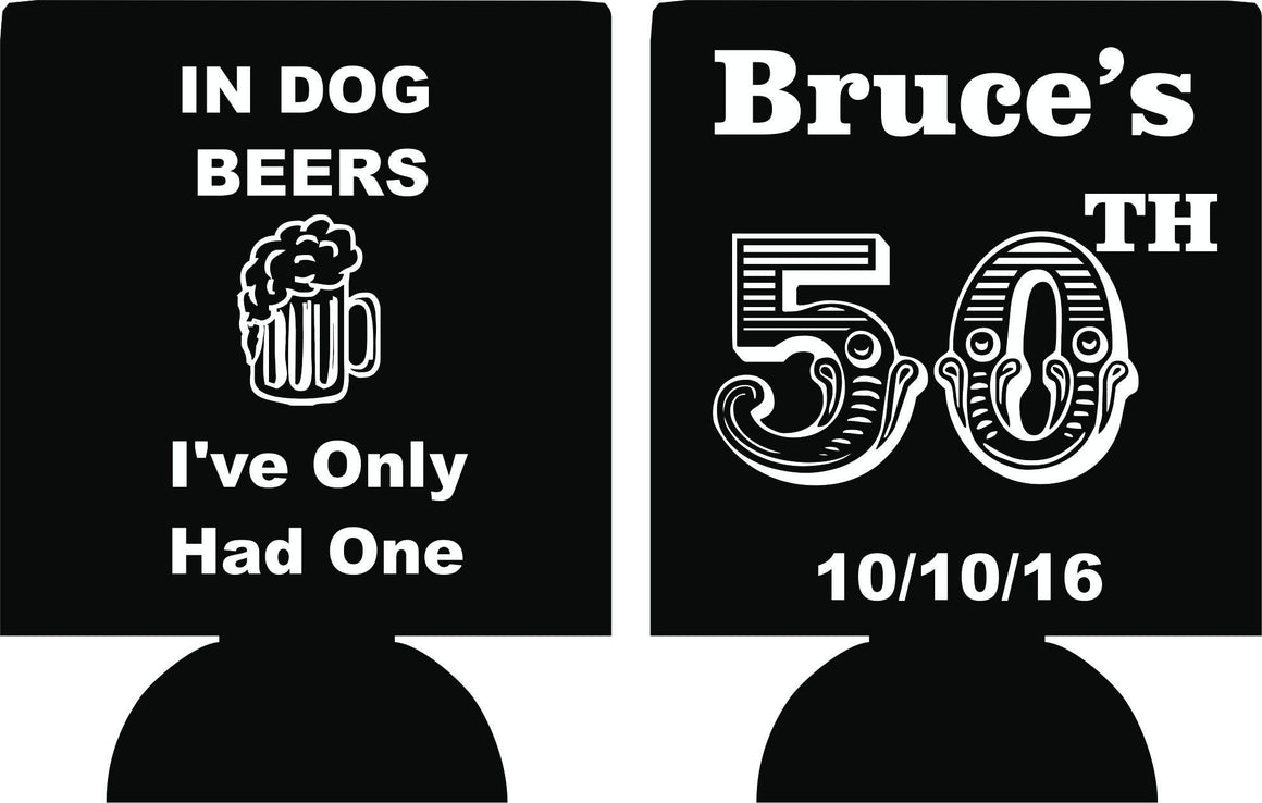 Dog Beers 50th Birthday party favors can coolers E10052016
