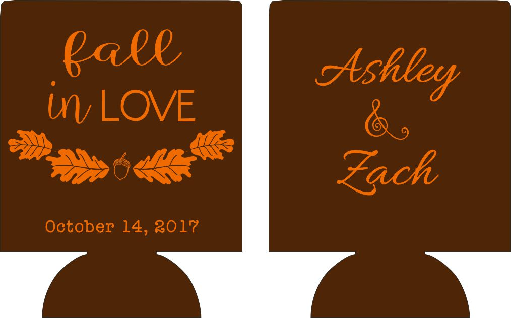 fall in love wedding koozies custom personalized leaves acorn can coolies