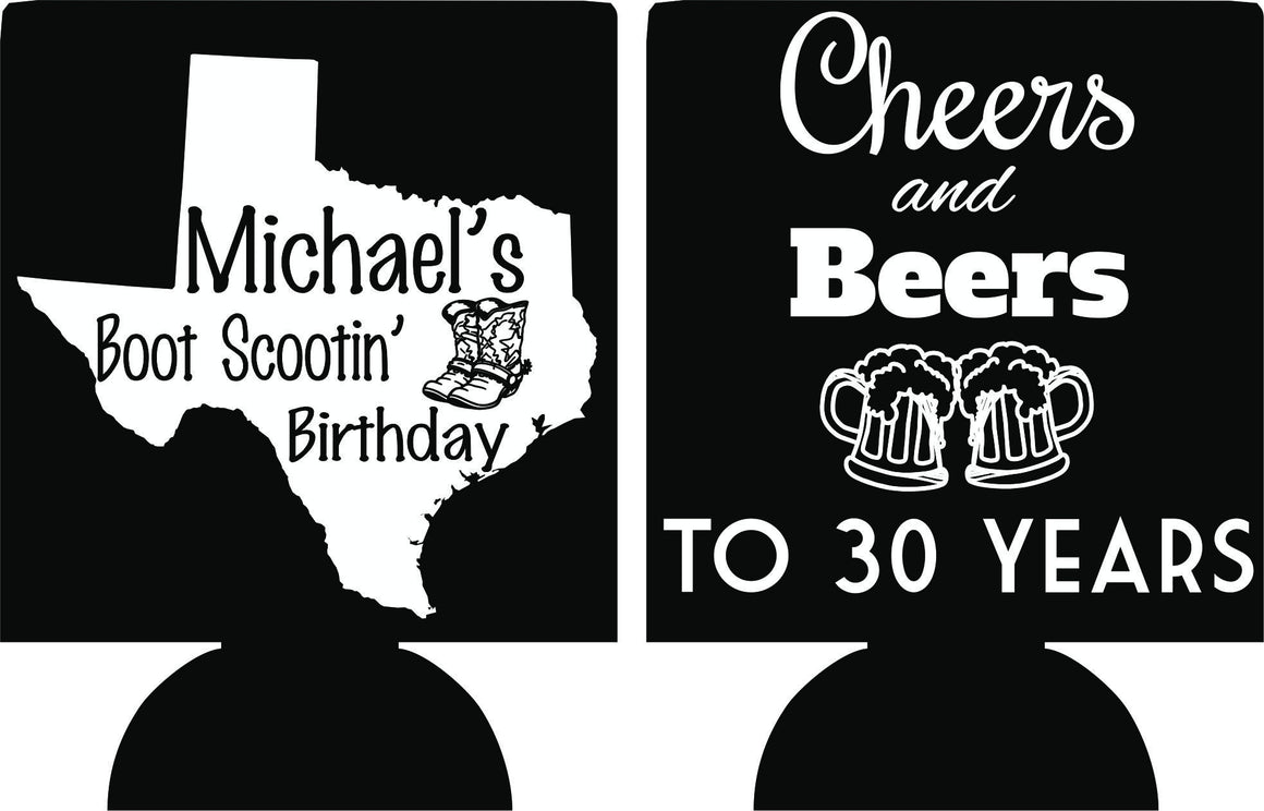 Cheers and Beers Birthday koozies Texas favors can coolers