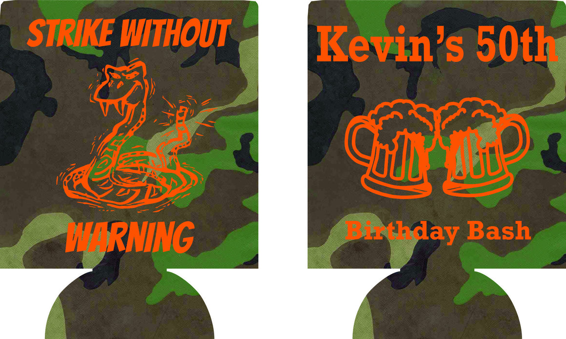 Strike without warning Birthday koozies snake favors can coolers