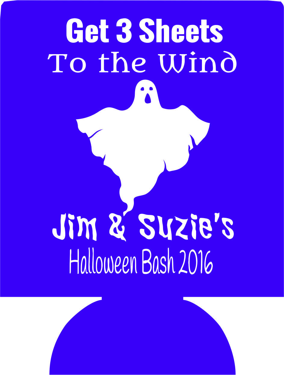 Halloween bash 3 sheets Party Koozies favors can coolers