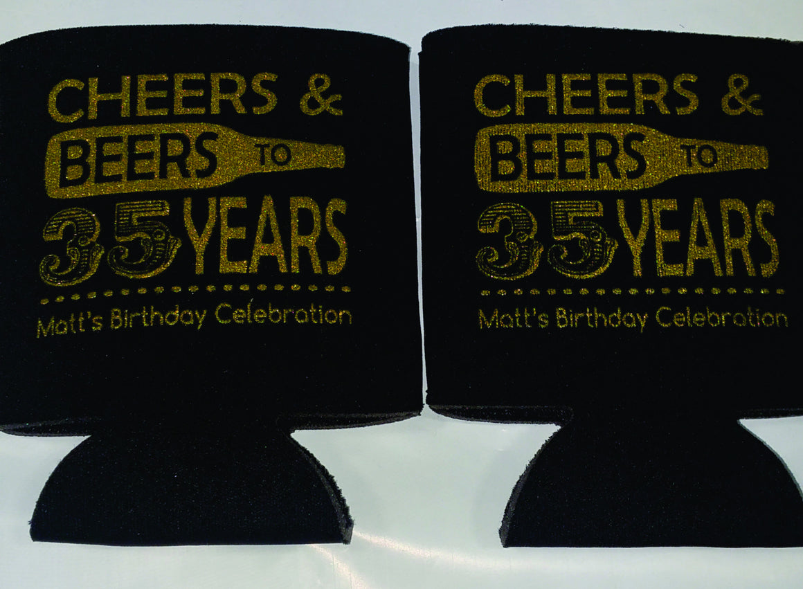 Cheers and Beers 35th Birthday party favors can coolers SP1257