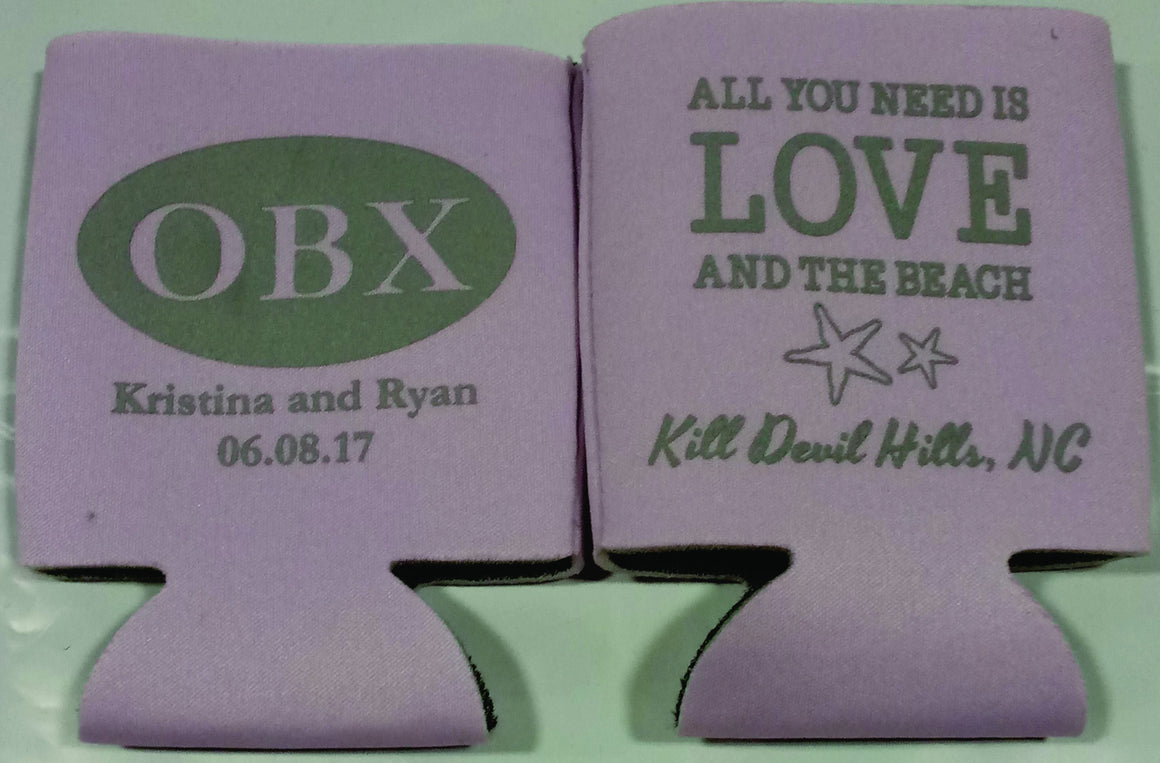 OBX Wedding koozies Lilac with gray print