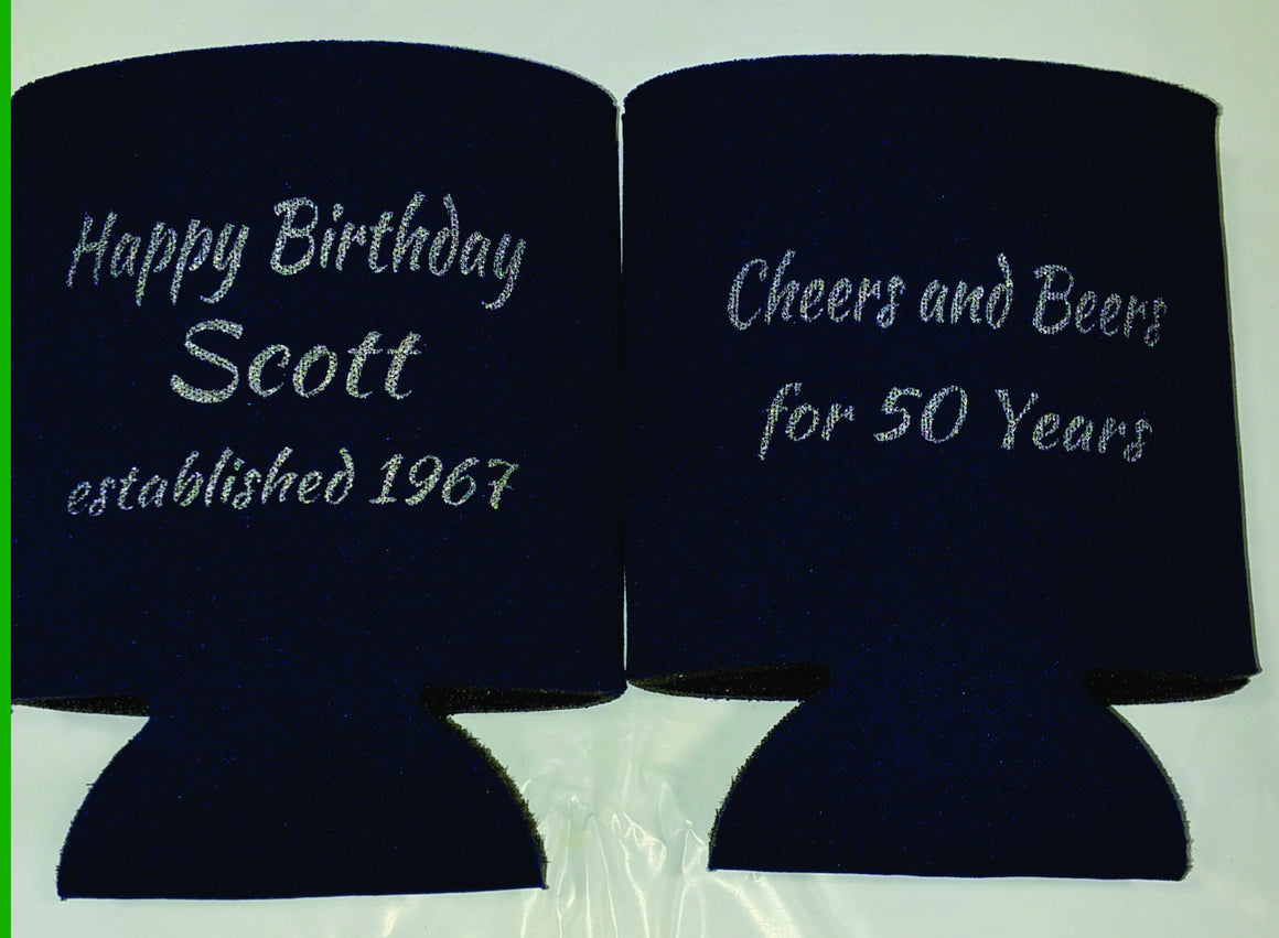 50th Birthday party favors can coolers SP1286