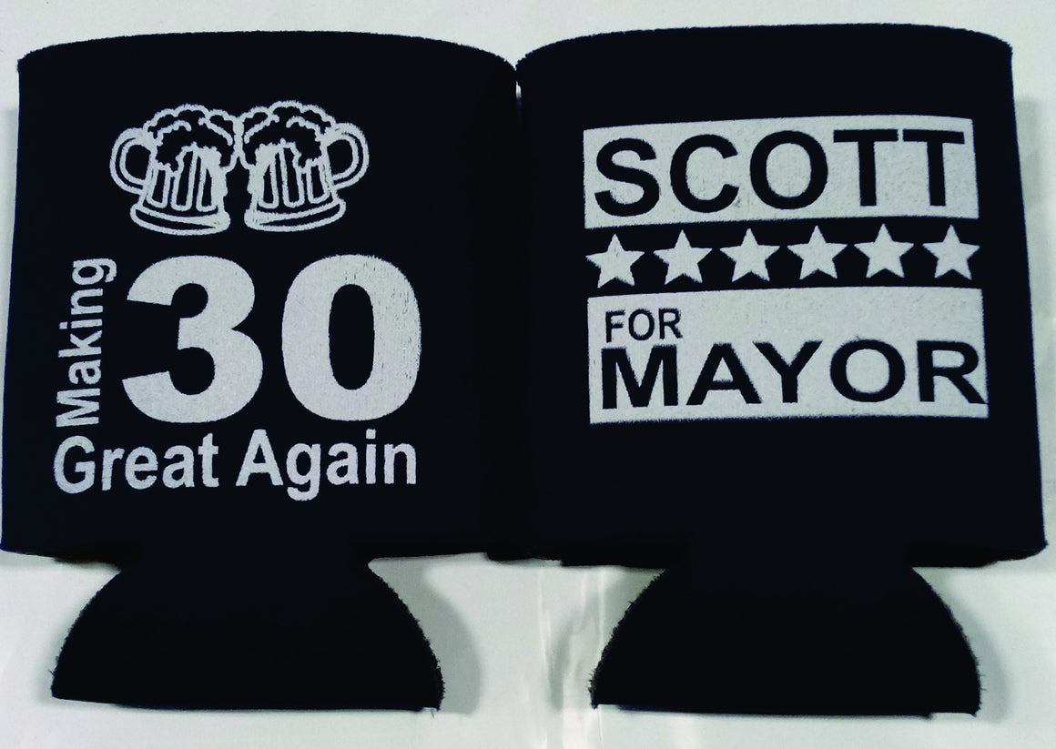 Making 30 Great 30th Birthday koozies