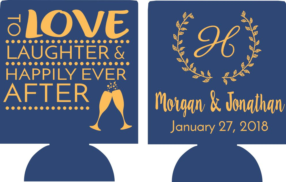 To love and laughter koozies double sided Wedding party favors
