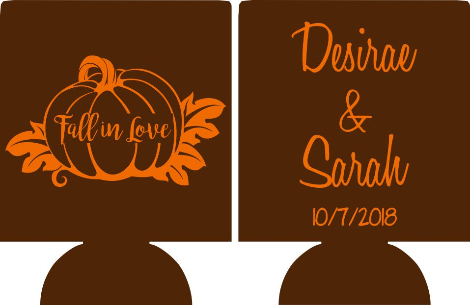 fall in love wedding koozies custom personalized pumpkin can coolies SP3430-2