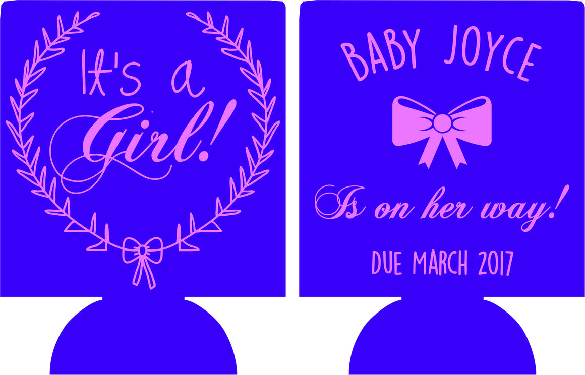 Baby Shower koozie Girl wreath favors