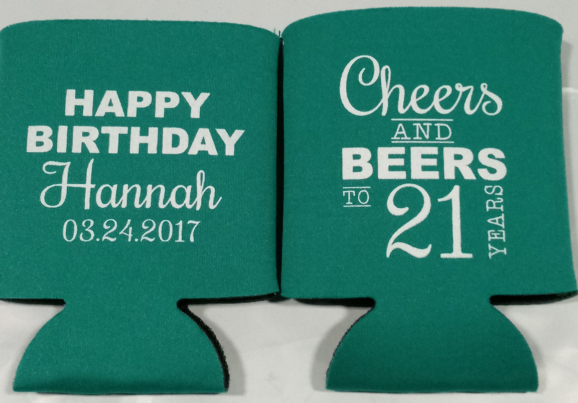 cheers and beers to 21 years can huggers personalized Birthday