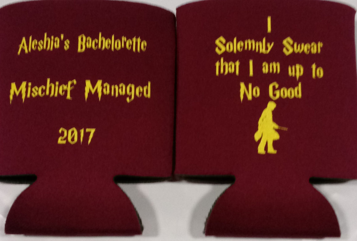 Harry Potter Bachelorette Koozies Party custom favors Can Coolers