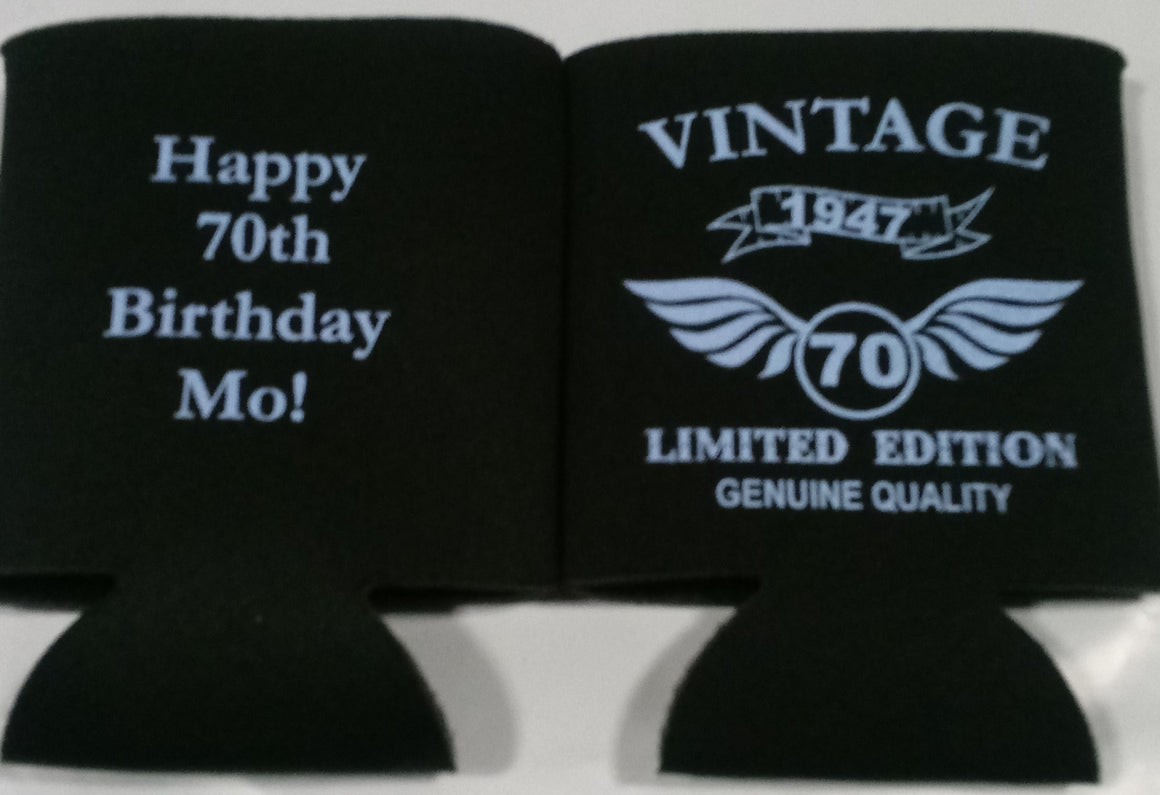 Vintage 70th Birthday party favors can coolers