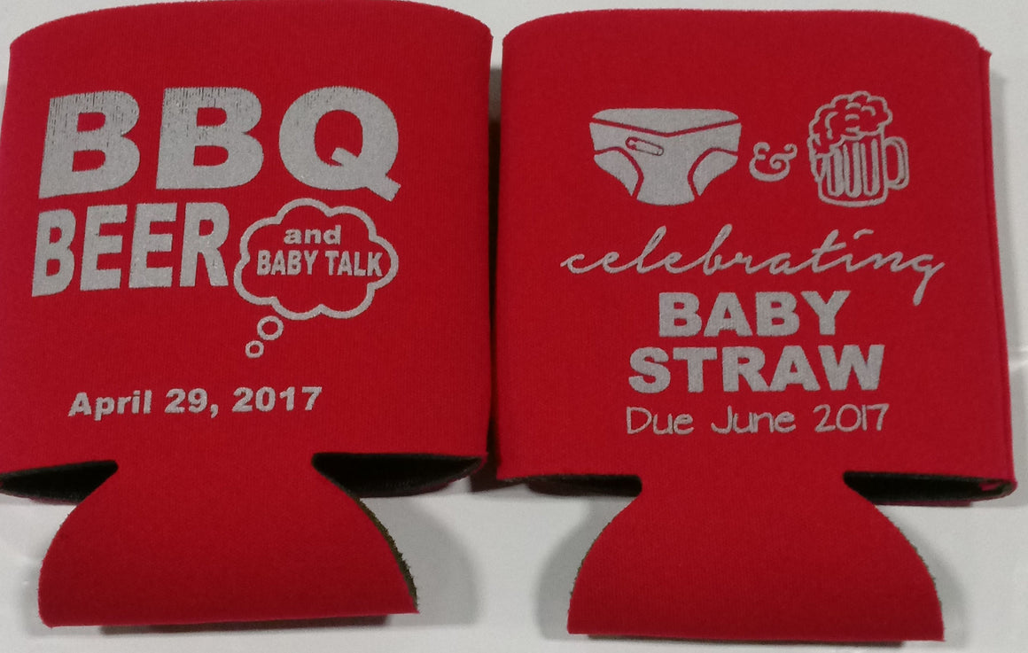 Beer BBQ Baby Shower favors Can Coolers customizable