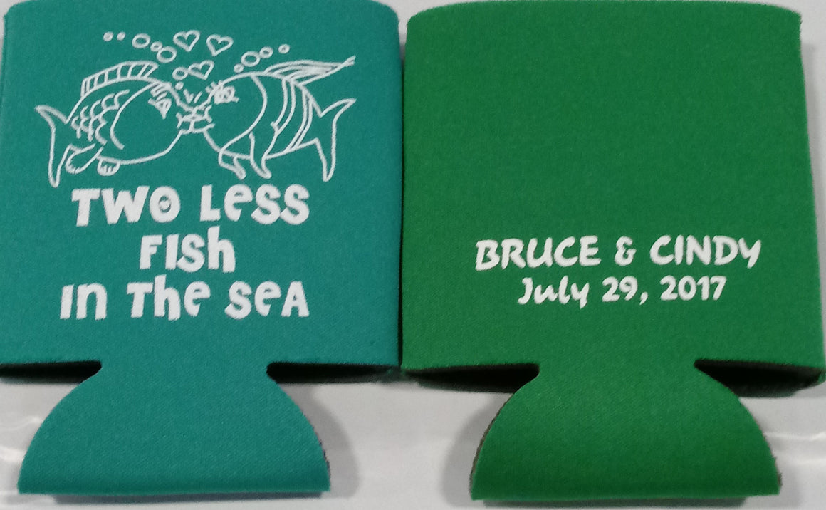 two less fish in the sea koozie Wedding party favors Can Coolers