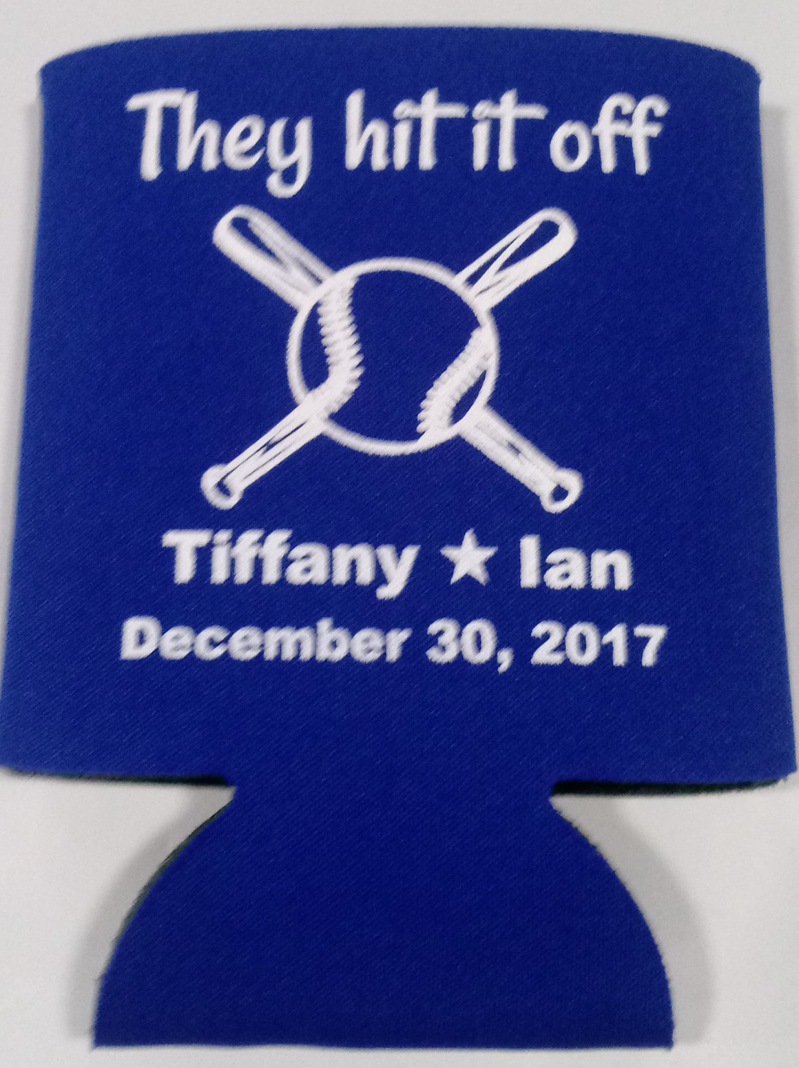 They hit it off baseball Wedding koozie party favors Can Coolers
