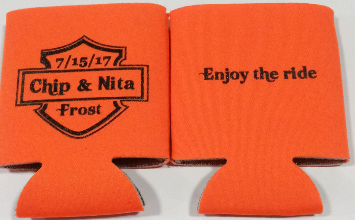 Eat Drink and be Married koozie Wedding party favors Can Coolers