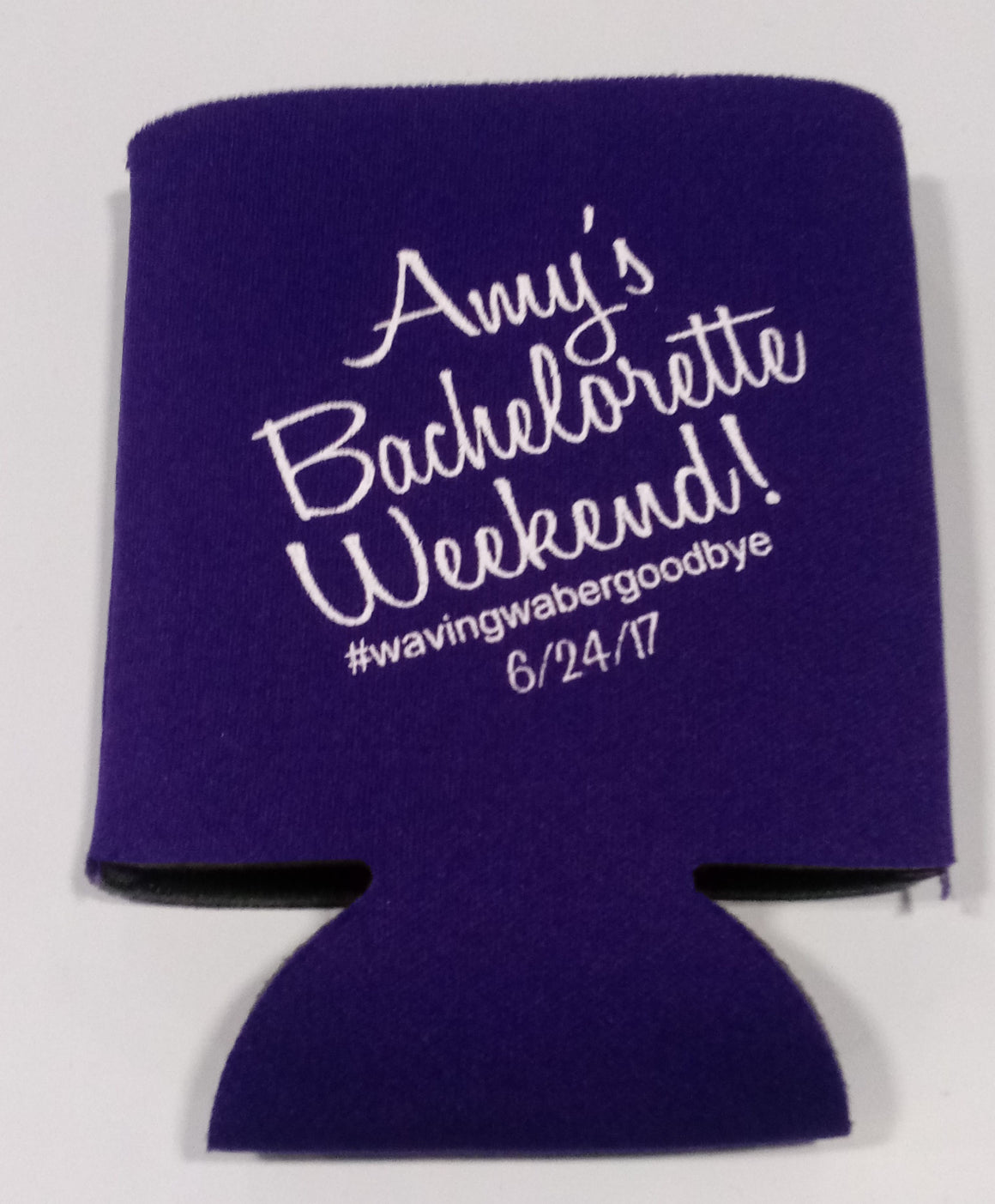 Bachelorette weekend koozie custom hashtag personalized
