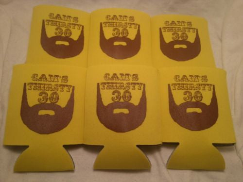 Beard 30th Birthday Koozies thirsty 30 party  can coolers