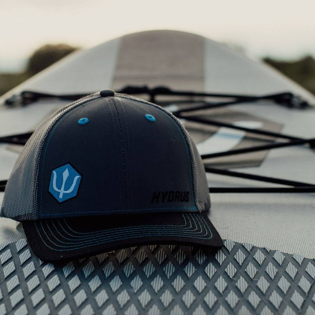 Hydrus Curved Bill Embroidered Slate and Black Trucker Hat Hydrus Board Tech