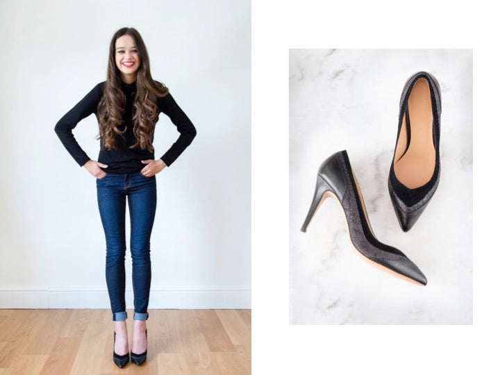 black leather pumps