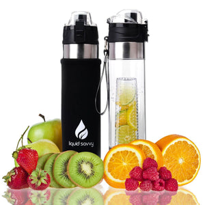 Liquid Savvy 24oz Water Infuser – Fruit Infused Water Bottle with Leak Proof Flip Top Lid, Tritan Plastic with Bottom Infusing Design with Neoprene Insulated Sleeve, Strainer & Bottle Brush