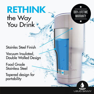 Liquid Savvy's 30oz Stainless Steel Tumbler Bundle - Includes Tumbler, 2 Lids, Straw, and Handle - Double Walled Vacuum Insulated Tumbler for Hot and Cold Beverages - Stainless Steel
