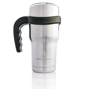 Liquid Savvy Handle for 30 oz Stainless Steel Tumbler, Thermos, Cup with Thumb and Finger Grips - Anti-Slip and INCREDIBLY Durable! Fits YETI Rambler, Ozark Trail, RTIC, and MORE. Black