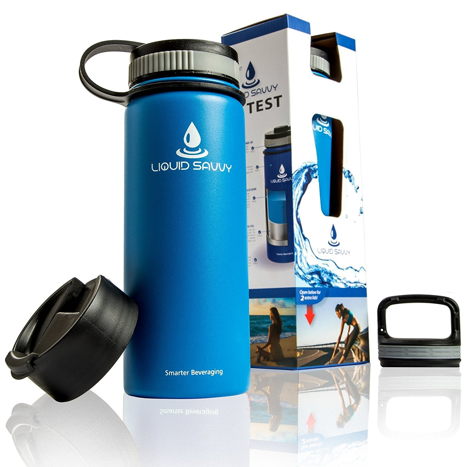 Liquid Savvy 18oz Insulated Water Bottle with 3 lids - Stainless Steel, Wide Mouth Double Walled Vacuum Insulated Bottle for Hot and Cold Beverages