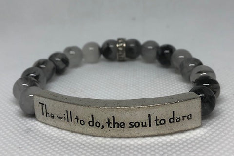 IamTra Quote Stack, The Will To Do, The Soul To Dare, Sir Walter Scott, Tourmalated Quartz