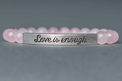 IamTra Quote Stack, Love Is Enough, William Morris, Rose Quartz