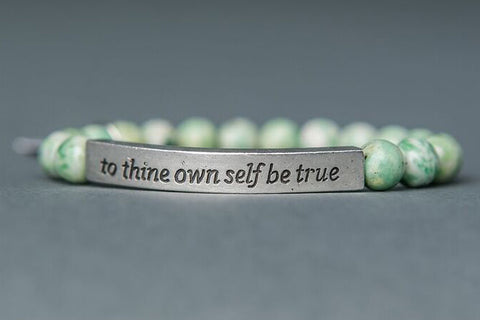 IamTra Quote Stack, To Thine Own Self Be True, Shakespeare, Qinghai Jade