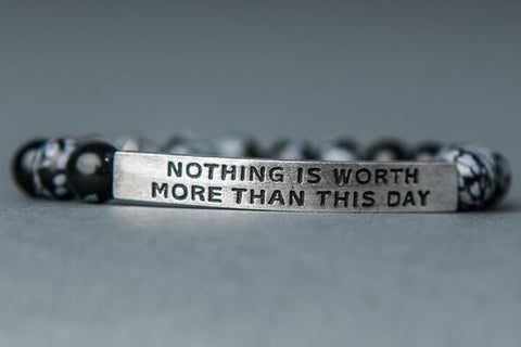 IamTra Quote Stack, Nothing Is Worth More Than This Day, Goethe, Snowflake Obsidian