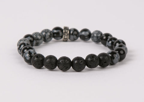 IamTra Lava Stack, Snowflake Obsidian: balance, serenity, protection