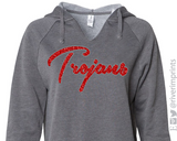 TROJANS Glittery V-neck Hooded Sweatshirt