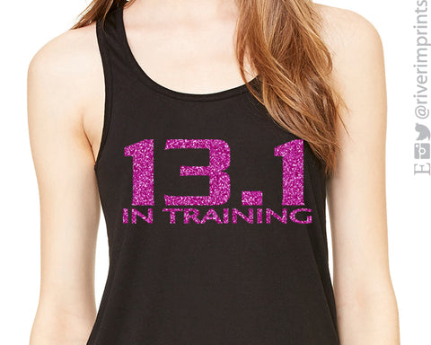13.1 IN TRAINING Glittery Flowy Tank