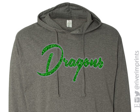 DRAGONS Hoodie Glittery Womens Dragon School Mascot Hooded Sweatshirt or Tee Shirt