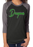 DRAGONS Glittery Womens Dragon School Mascot Triblend Raglan Shirt