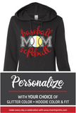 BASEBALL SOFTBALL MOM Glittery Midweight Hooded Sweatshirt