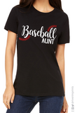 BASEBALL AUNT Glittery Cotton Tee