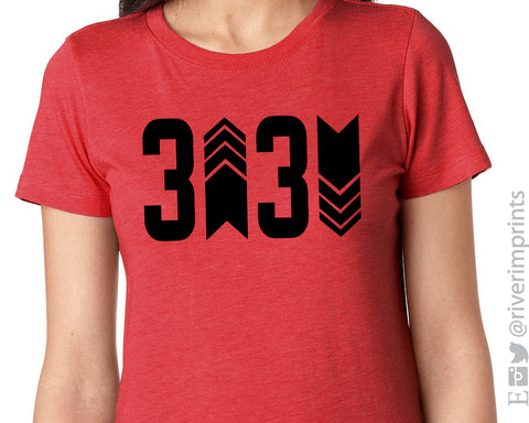THREE UP THREE DOWN Graphic Triblend Tee by River Imprints