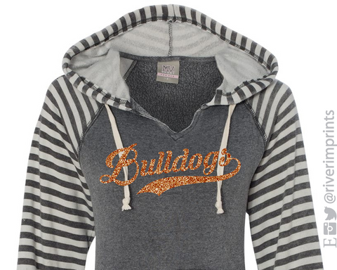 BULLDOGS Hoodie Glittery Womens Bulldog School Mascot Striped Hooded Sweatshirt