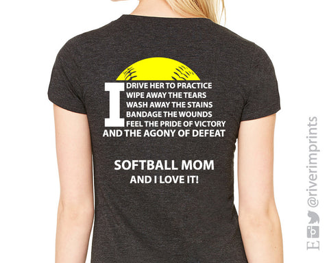 Add Softball Mom Quote 2-color Back to any shirt