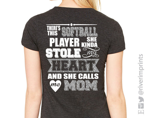 Add Softball Mom Glitter Quote to the Back to any shirt
