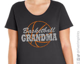 BASKETBALL GRANDMA Glittery Curvy Collection Women's Scoopneck Tee