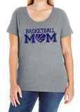 BASKETBALL MOM HEART Glittery Curvy Collection Women's Scoopneck Tee