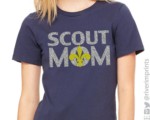 BOY SCOUT MOM Glittery Cotton Tee River Imprints